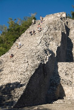 Tourists climbing Nohoch Mul (big mound), Coba, Quintana Roo, Mexico, North America